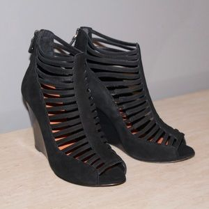 Rebecca Minkoff Open Toe Caged Wedge Booties
